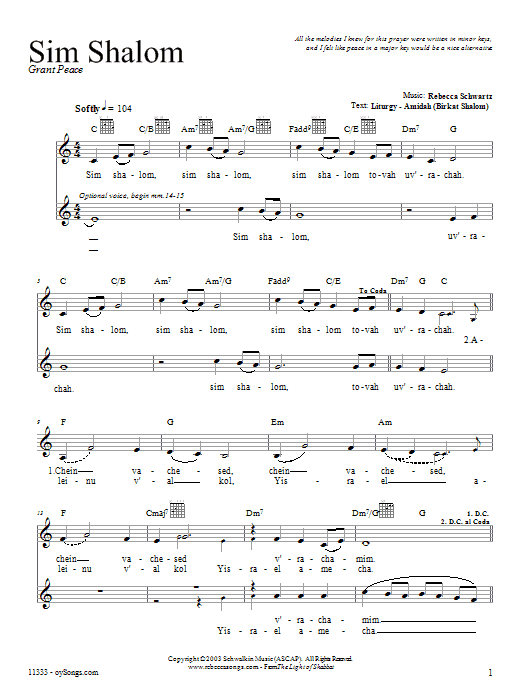 Download Rebecca Schwartz Sim Shalom sheet music and printable PDF score & Religious music notes