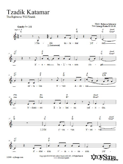Download Rebecca Schwartz Tzadik Katamar sheet music and printable PDF score & Religious music notes