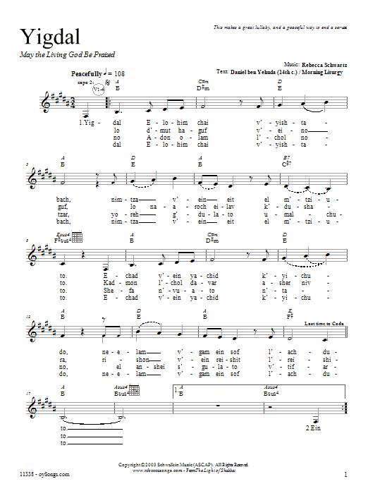 Download Rebecca Schwartz Yigdal sheet music and printable PDF score & Religious music notes
