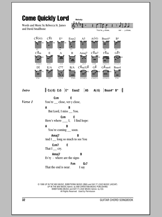 Download Rebecca St. James Come Quickly Lord sheet music and printable PDF score & Pop music notes