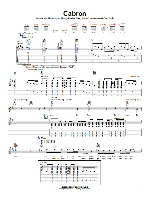 Download Red Hot Chili Peppers Cabron sheet music and printable PDF score & Rock music notes