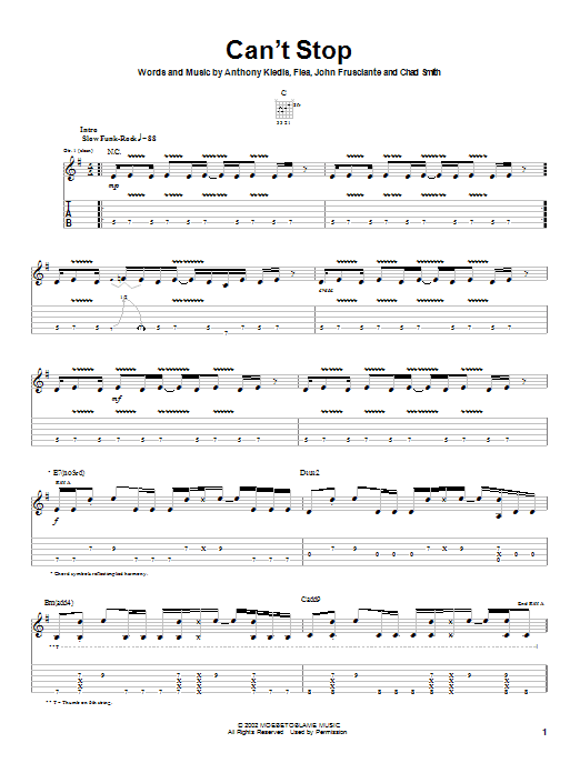Download Red Hot Chili Peppers Can't Stop sheet music and printable PDF score & Rock music notes