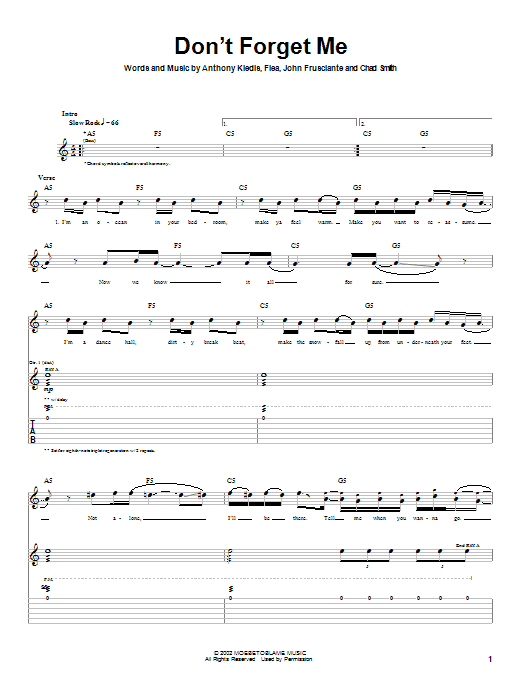 Download Red Hot Chili Peppers Don't Forget Me sheet music and printable PDF score & Rock music notes