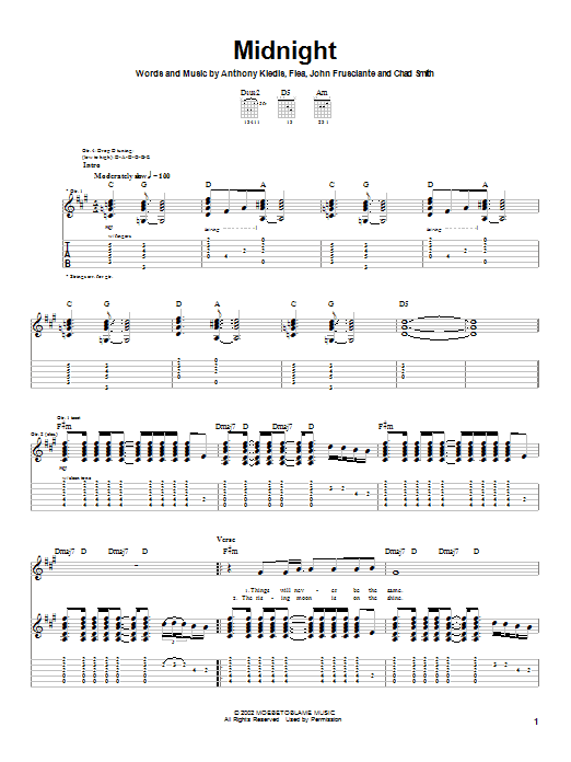 Download Red Hot Chili Peppers Midnight sheet music and printable PDF score & Rock music notes