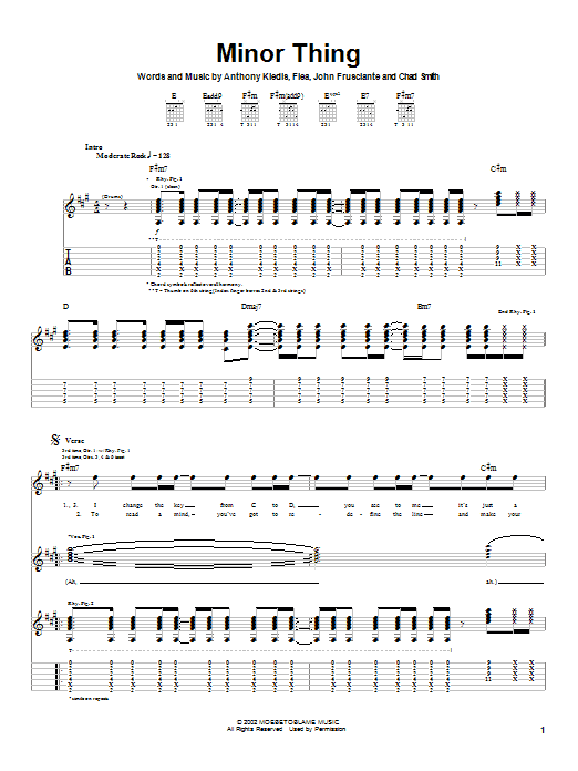 Download Red Hot Chili Peppers Minor Thing sheet music and printable PDF score & Rock music notes