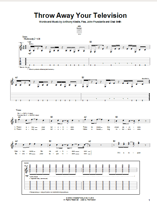 Download Red Hot Chili Peppers Throw Away Your Television sheet music and printable PDF score & Rock music notes