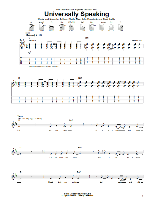 Download Red Hot Chili Peppers Universally Speaking sheet music and printable PDF score & Rock music notes