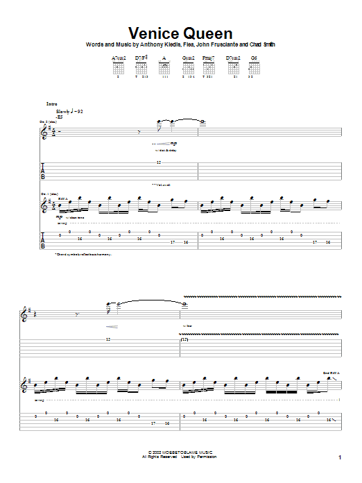 Download Red Hot Chili Peppers Venice Queen sheet music and printable PDF score & Rock music notes