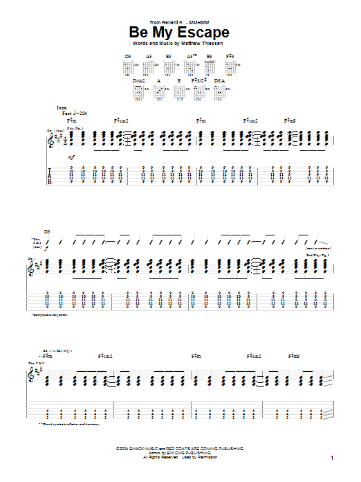 Download Relient K Be My Escape sheet music and printable PDF score & Pop music notes