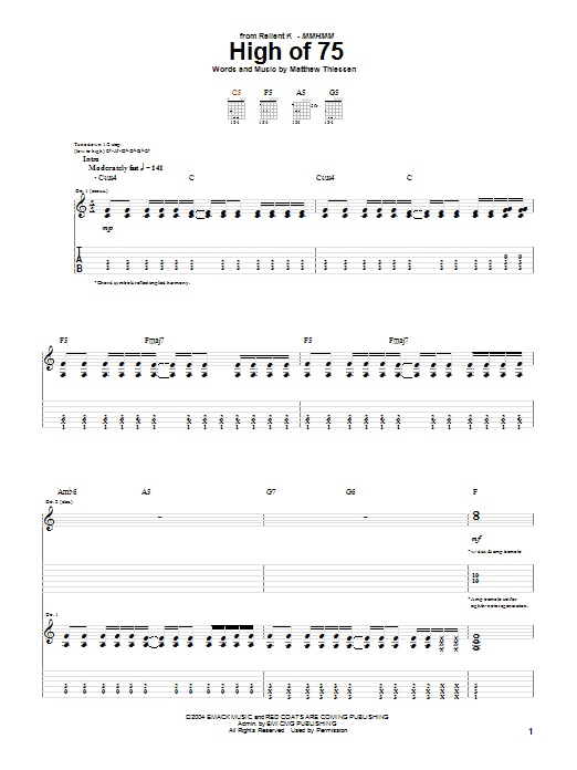 Download Relient K High Of 75 sheet music and printable PDF score & Pop music notes