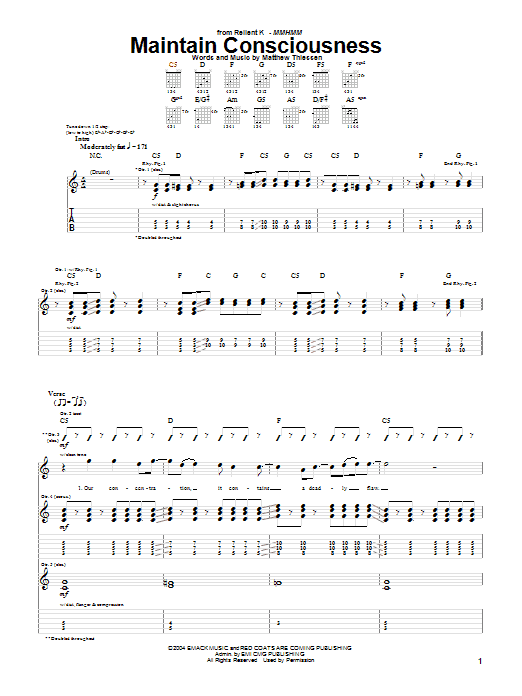 Download Relient K Maintain Consciousness sheet music and printable PDF score & Pop music notes