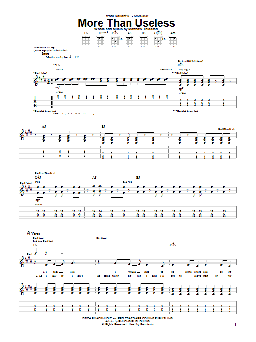Download Relient K More Than Useless sheet music and printable PDF score & Pop music notes