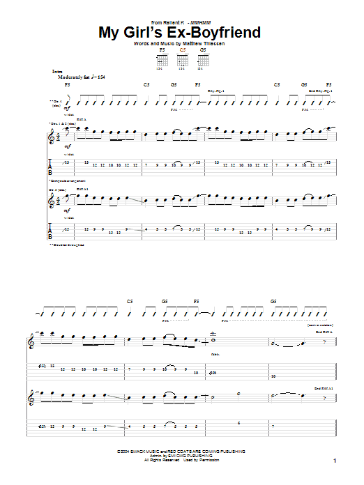 Download Relient K My Girl's Ex-Boyfriend sheet music and printable PDF score & Pop music notes