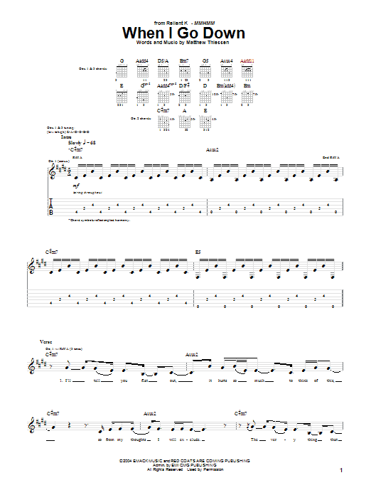 Download Relient K When I Go Down sheet music and printable PDF score & Pop music notes