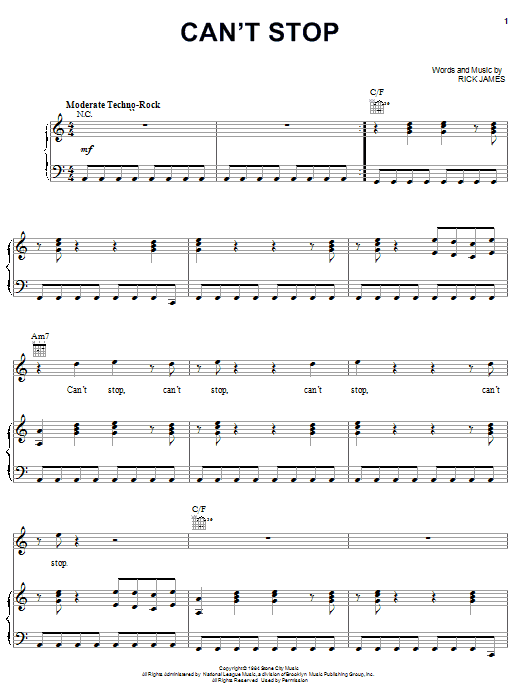 Download Rick James Can't Stop sheet music and printable PDF score & Pop music notes