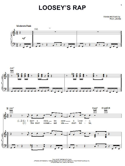 Download Rick James Loosey's Rap sheet music and printable PDF score & Pop music notes