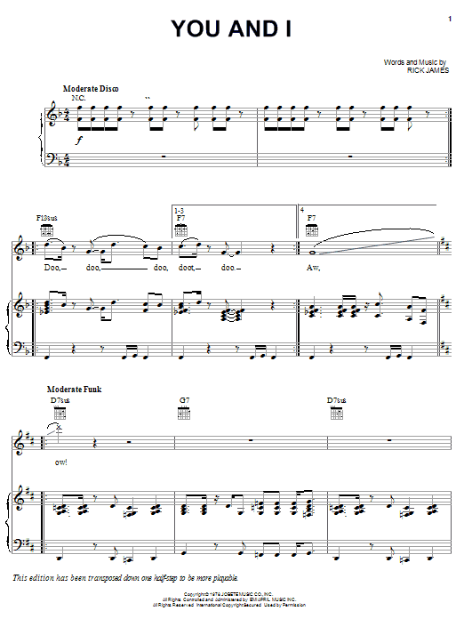 Download Rick James You And I sheet music and printable PDF score & Pop music notes