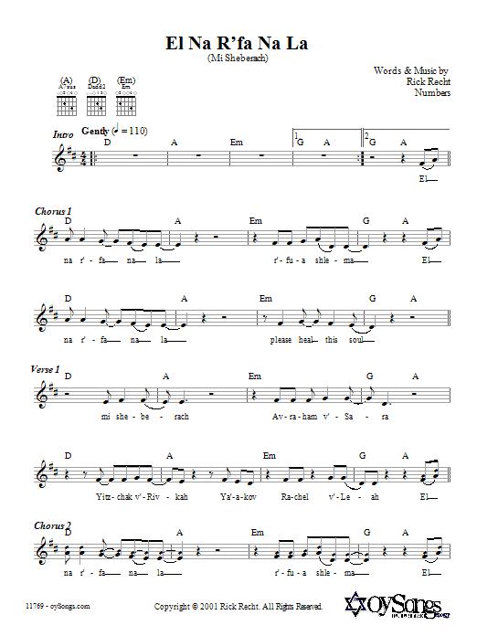 Download Rick Recht El Na R'fa Na La (Mi Sheberach) sheet music and printable PDF score & Religious music notes