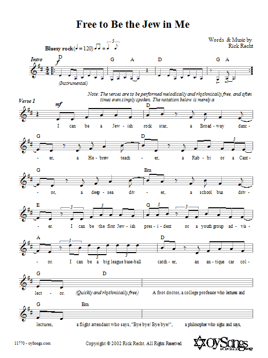 Download Rick Recht Free To Be The Jew In Me sheet music and printable PDF score & Religious music notes