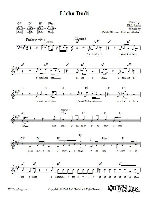 Download Rick Recht L'cha Dodi sheet music and printable PDF score & Religious music notes