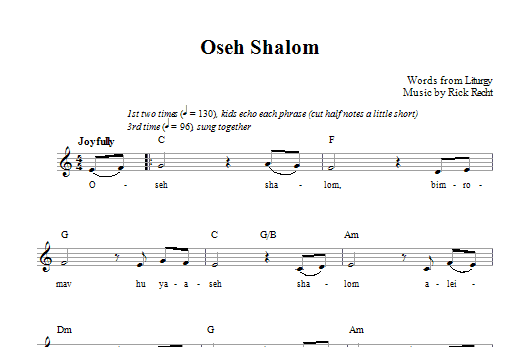 Download Rick Recht Oseh Shalom sheet music and printable PDF score & Religious music notes