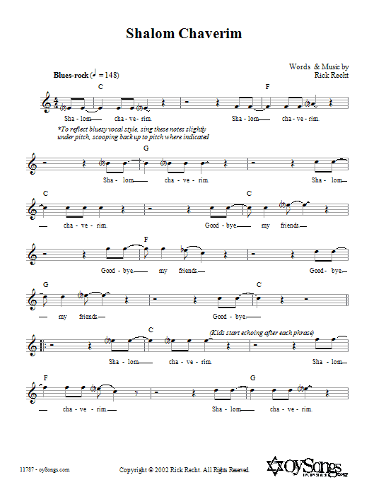 Download Rick Recht Shalom Chaverim sheet music and printable PDF score & Religious music notes