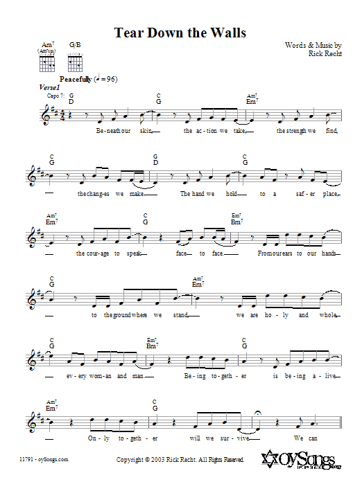 Download Rick Recht Tear Down the Walls sheet music and printable PDF score & Religious music notes