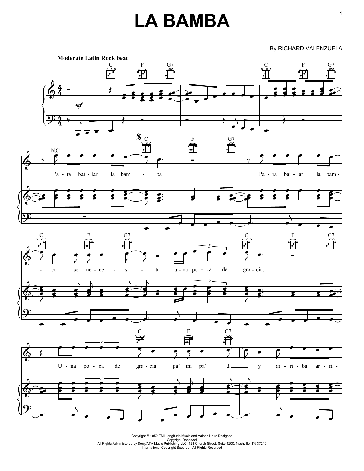 Download Ritchie Valens La Bamba sheet music and printable PDF score & Pop music notes