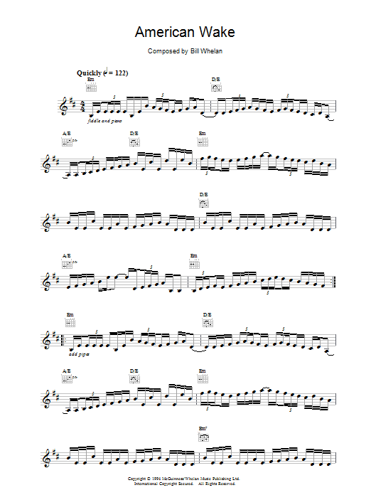 Download Bill Whelan American Wake (from Riverdance) sheet music and printable PDF score & Musicals music notes