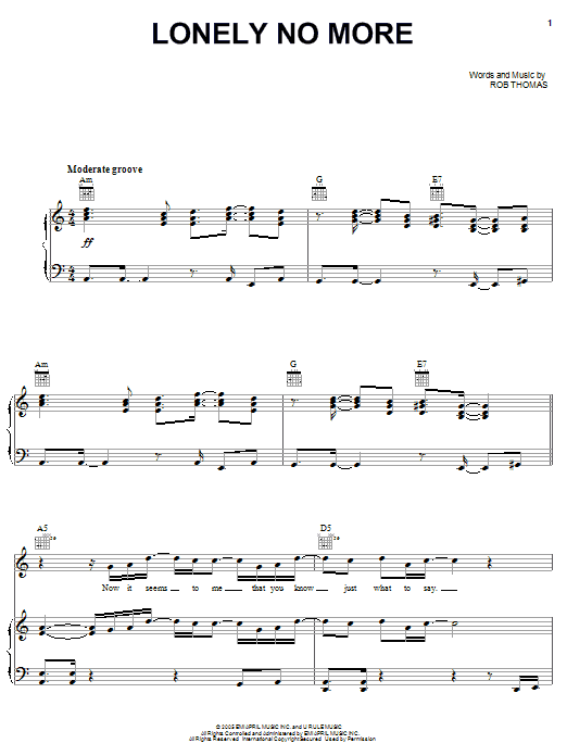 Download Rob Thomas Lonely No More sheet music and printable PDF score & Rock music notes