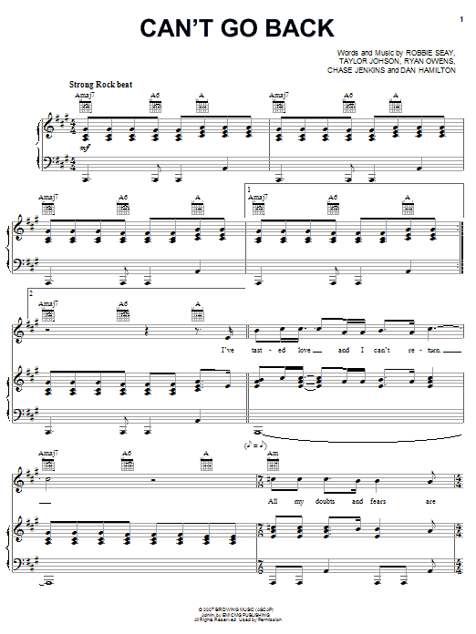 Download Robbie Seay Band Can't Go Back sheet music and printable PDF score & Pop music notes
