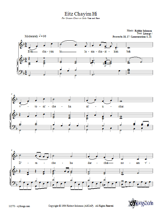 Download Robbie Solomon Eitz Chayim Hi sheet music and printable PDF score & Religious music notes