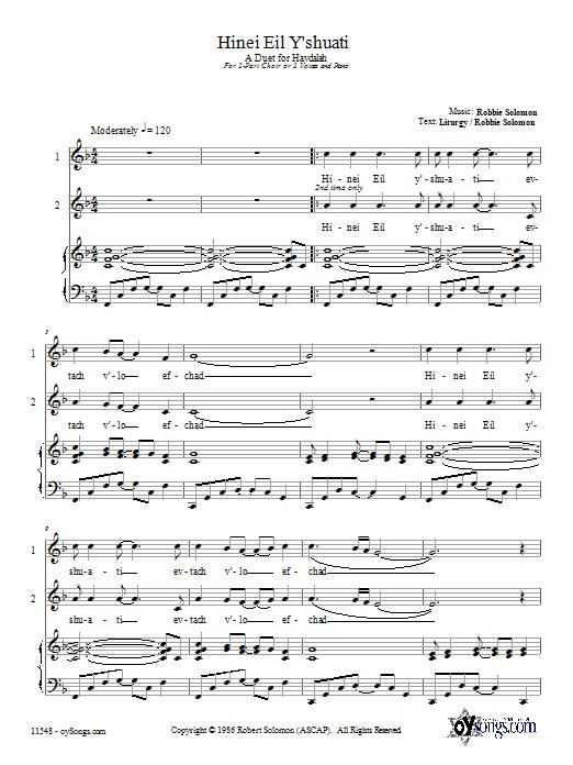 Download Robbie Solomon Hinei Eil Y'shuati sheet music and printable PDF score & Religious music notes
