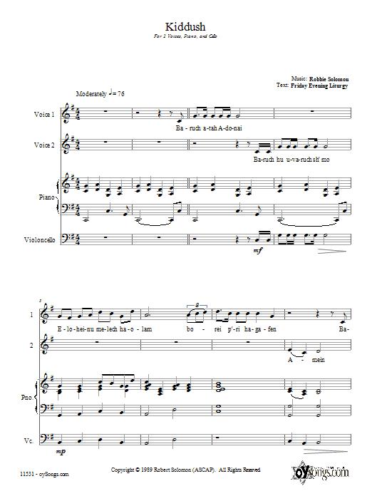 Download Robbie Solomon Kiddush sheet music and printable PDF score & Religious music notes