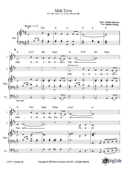 Download Robbie Solomon Mah Tovu sheet music and printable PDF score & Religious music notes
