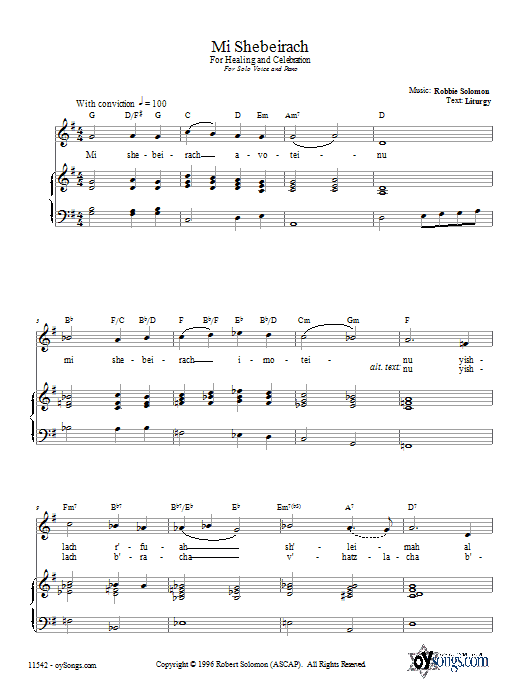 Download Robbie Solomon Mi Shebeirach sheet music and printable PDF score & Religious music notes