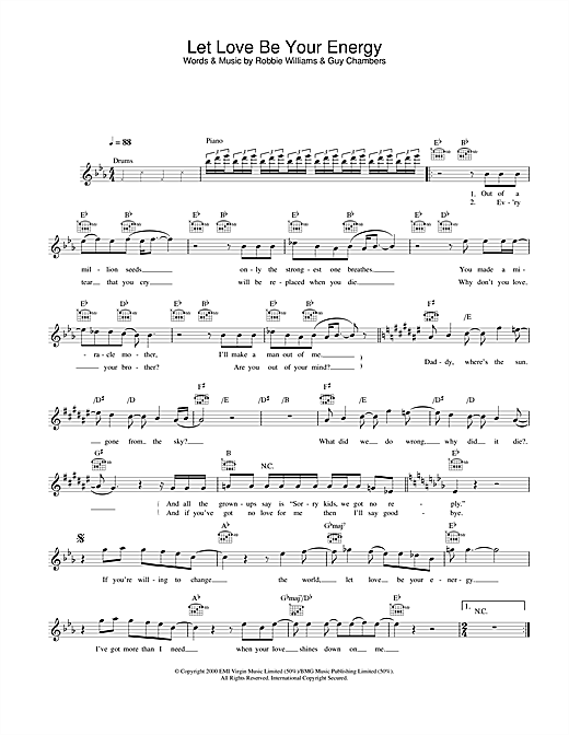 Download Robbie Williams Let Love Be Your Energy sheet music and printable PDF score & Pop music notes
