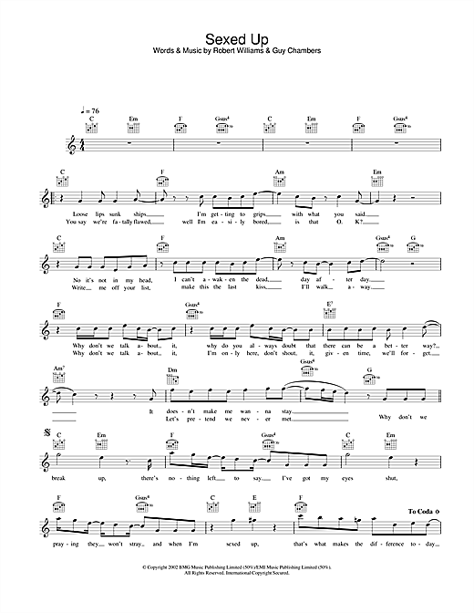 Download Robbie Williams Sexed Up sheet music and printable PDF score & Pop music notes