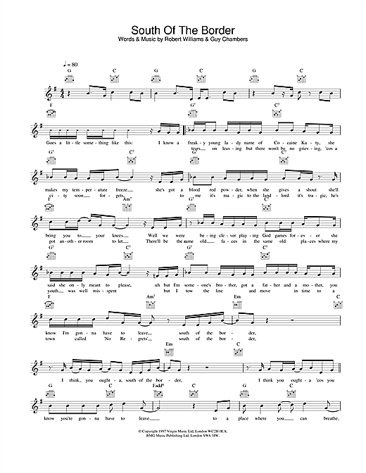 Download Robbie Williams South Of The Border sheet music and printable PDF score & Pop music notes