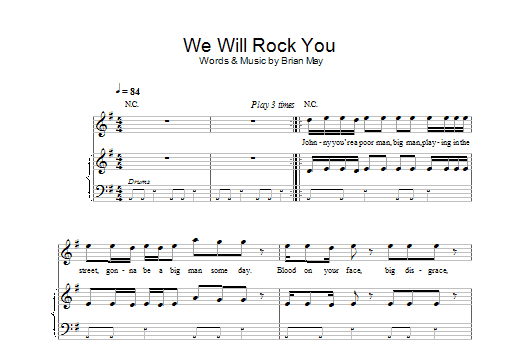 Download Robbie Williams We Will Rock You sheet music and printable PDF score & Pop music notes