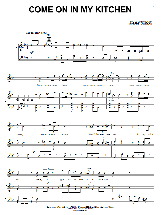 Download Robert Johnson Come On In My Kitchen sheet music and printable PDF score & Pop music notes