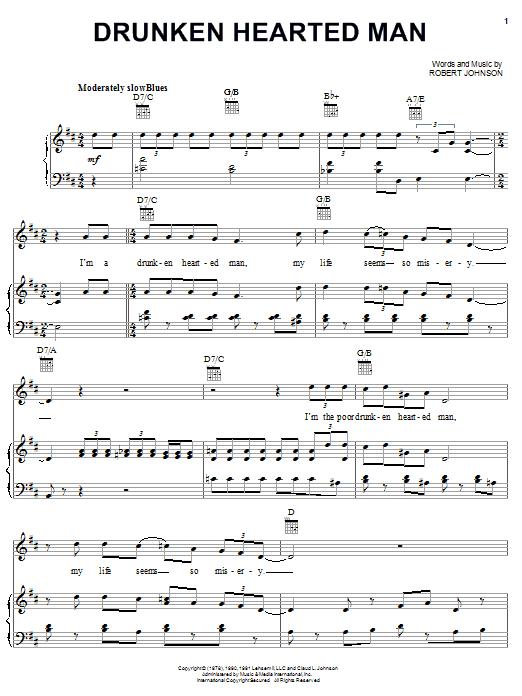 Download Robert Johnson Drunken Hearted Man sheet music and printable PDF score & Blues music notes