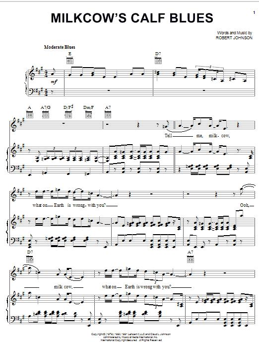 Download Robert Johnson Milkcow's Calf Blues sheet music and printable PDF score & Blues music notes