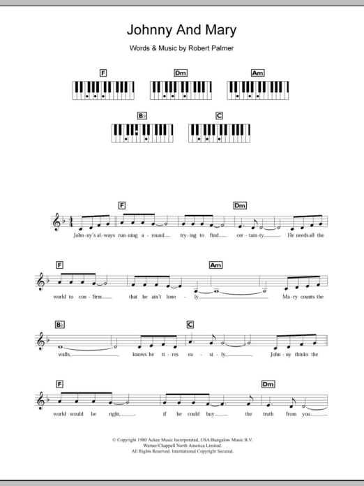 Download Robert Palmer Johnny And Mary sheet music and printable PDF score & Rock music notes