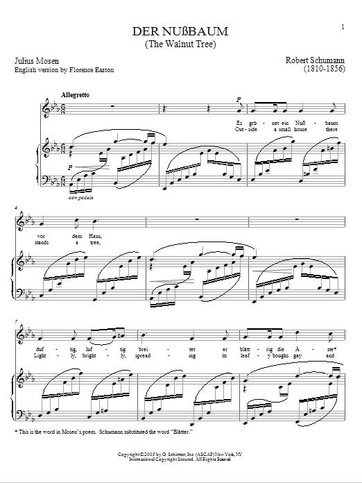 Download Robert Schumann Der Nussbaum sheet music and printable PDF score & Classical music notes