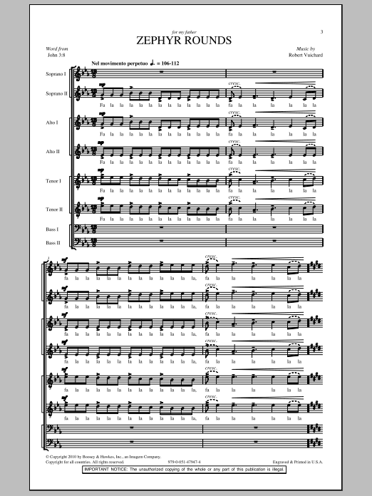 Download Robert Vuichard Zephyr Rounds sheet music and printable PDF score & Concert music notes