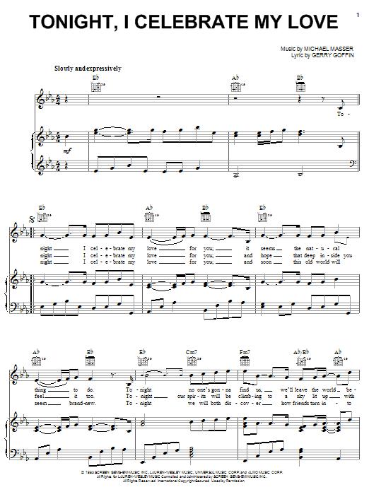 Download Roberta Flack Tonight, I Celebrate My Love sheet music and printable PDF score & Ballad music notes