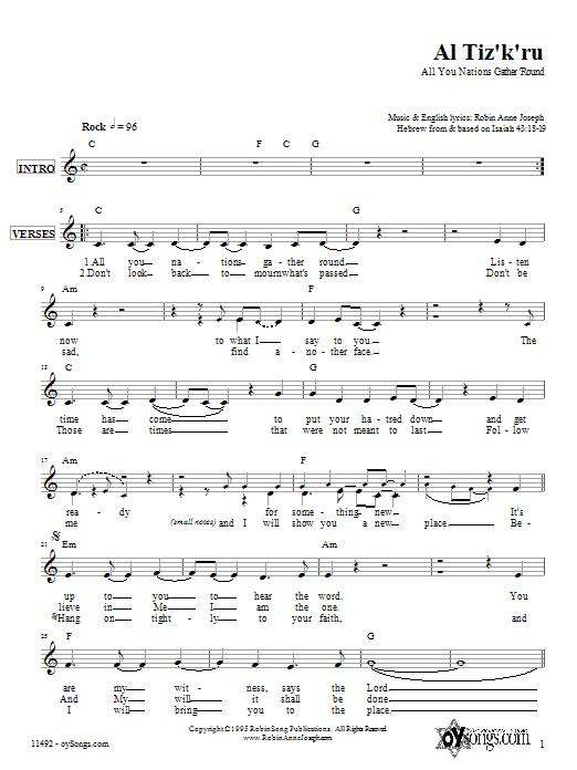 Download Robin Joseph Al Tiz'k'ru sheet music and printable PDF score & Religious music notes