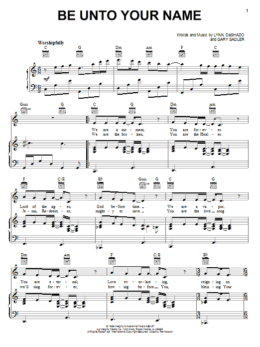 Download Robin Mark Be Unto Your Name sheet music and printable PDF score & World music notes