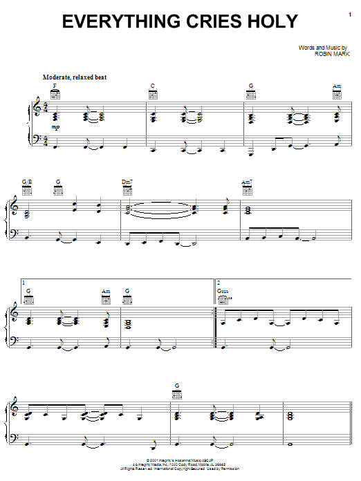 Download Robin Mark Everything Cries Holy sheet music and printable PDF score & World music notes